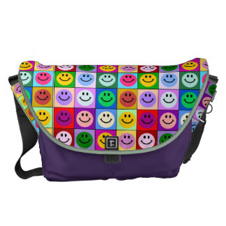 Rainbow smiley face squares messenger bags