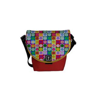 Rainbow smiley face squares messenger bag