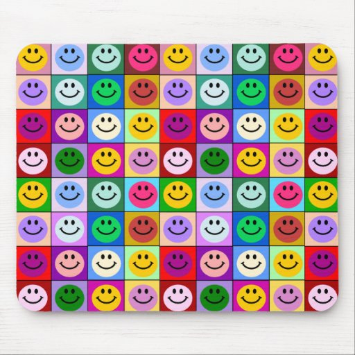 Rainbow smiley face squares mousepad