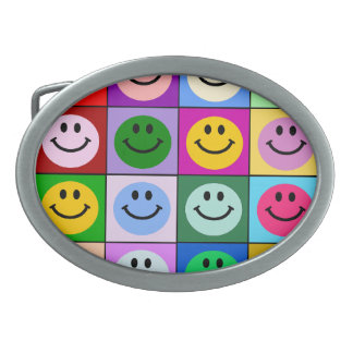 Rainbow smiley face squares oval belt buckles