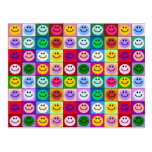 Rainbow smiley face squares postcard
