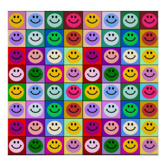 Rainbow smiley face squares poster