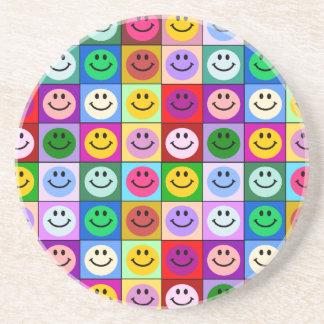 Rainbow smiley face squares sandstone coaster