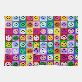 Rainbow smiley face squares tea towel