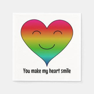 Rainbow smiley heart disposable napkins