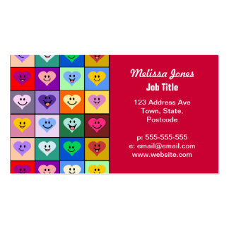 Rainbow Smiley Hearts squares Business Cards