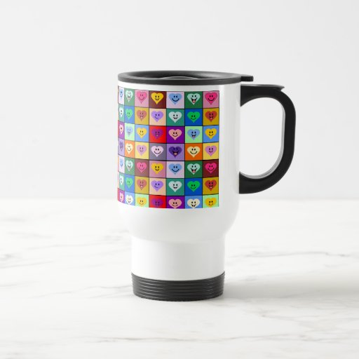 Rainbow Smiley Hearts squares Mugs