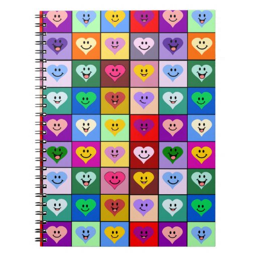 Rainbow Smiley Hearts squares Note Book