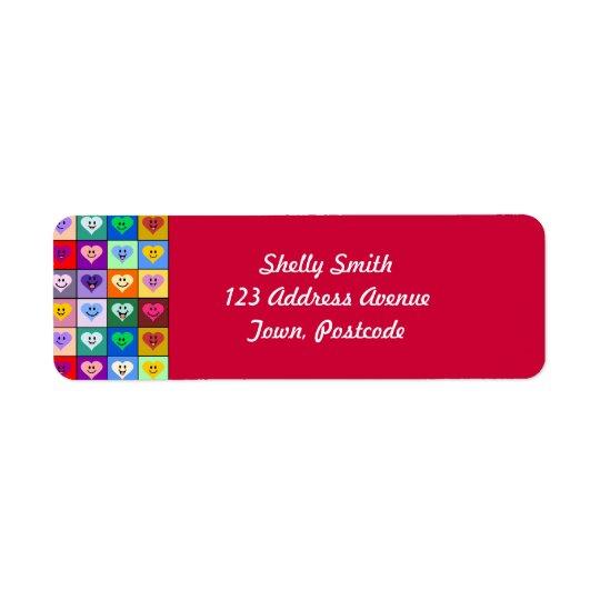 Rainbow Smiley Hearts squares Return Address Label