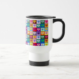 Rainbow Smiley Hearts squares Stainless Steel Travel Mug