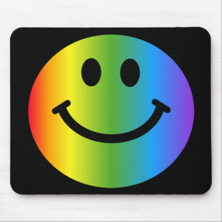 Rainbow Smiley - on black Mouse Mat