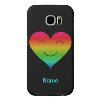 Rainbow smiling heart custom name choose color samsung galaxy s6 cases