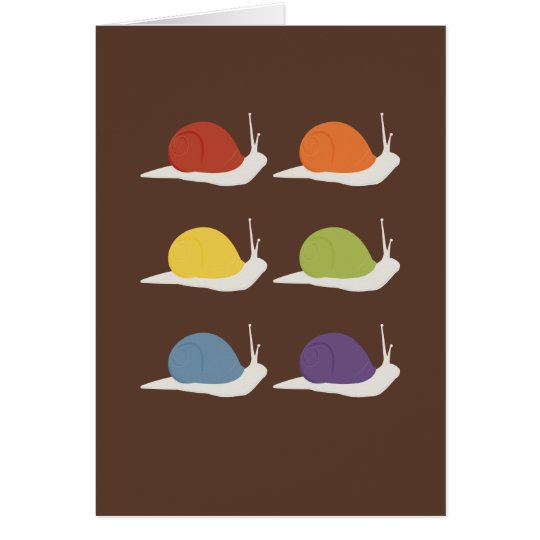 Rainbow | Snails | on brown background Card