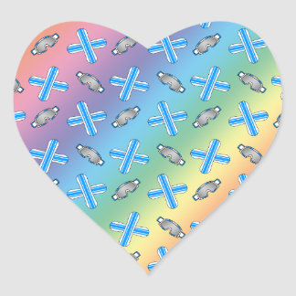 rainbow snowboard pattern heart sticker
