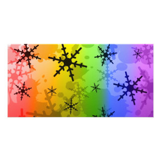 Rainbow Snowflake Custom Photo Card