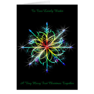 Rainbow Snowflake Lesbian Newly Wed 1st Christmas Greeting Card