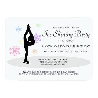 Rainbow Snowflakes Ice Skating Party Invitation