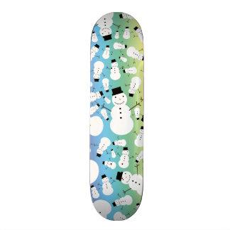 Rainbow snowmen skateboard deck