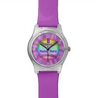 Rainbow Softball Watches for Girls NUMBER and NAME
