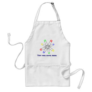 Rainbow Solidarity Safety Pin Yellow Blue Green Standard Apron