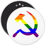 Rainbow Soviet Hammer And Sickle Button