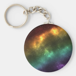 Rainbow Space Galaxy Print Basic Round Button Key Ring