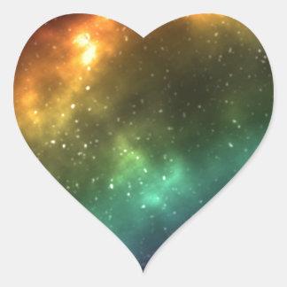 Rainbow Space Galaxy Print Heart Sticker