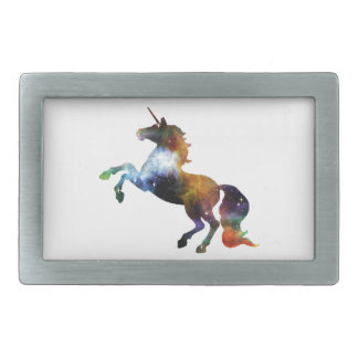Rainbow Space Unicorn Rectangular Belt Buckle