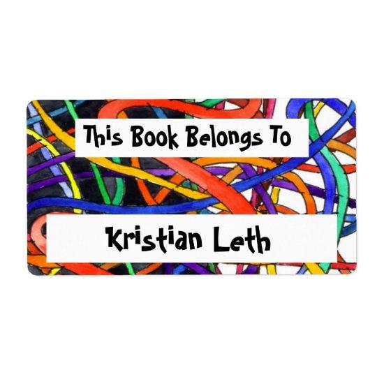 Rainbow Spaghetti Bookplate Shipping Label