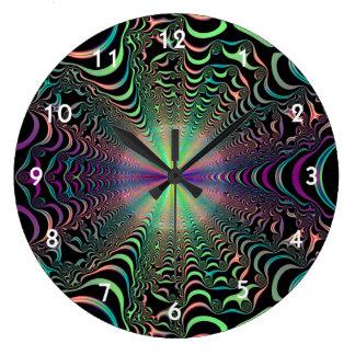 Rainbow Spider Web Fractal Large Clock