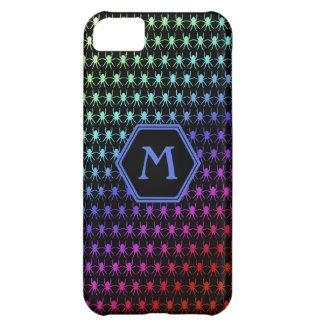 Rainbow spiders custom monogram on black iPhone 5C case