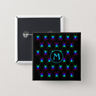 Rainbow spiders monogram on black 15 cm square badge