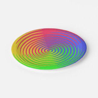 Rainbow Spiral 7 Inch Paper Plate
