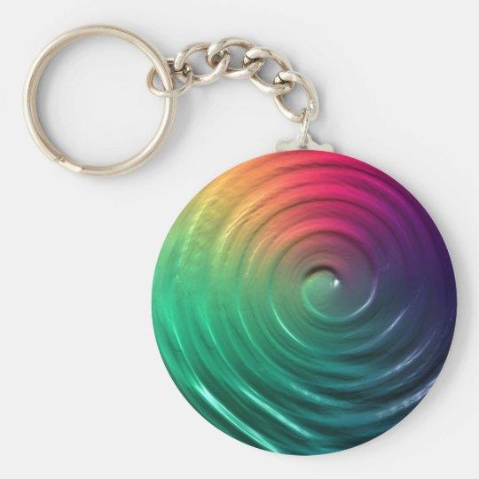 Rainbow Spiral Basic Round Button Key Ring