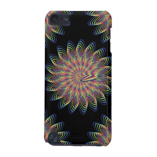 Rainbow Spiral Flower Design - Black Background iPod Touch (5th Generation) Covers