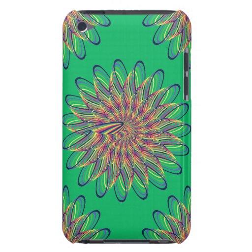 Rainbow Spiral Flower Design - Green Background iPod Touch Case
