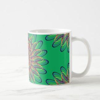 Rainbow Spiral Flower Design - Green Background Basic White Mug