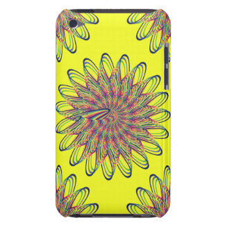 Rainbow Spiral Flower Design - Yellow Background Barely There iPod Cover