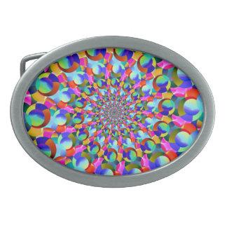 Rainbow Spiral Fractal Art Belt Buckles