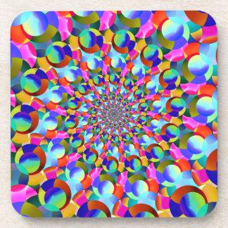 Rainbow Spiral Fractal Art Drink Coasters