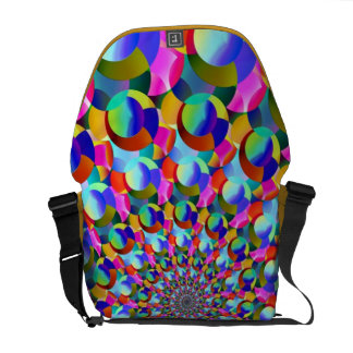 Rainbow Spiral Fractal Art Messenger Bags