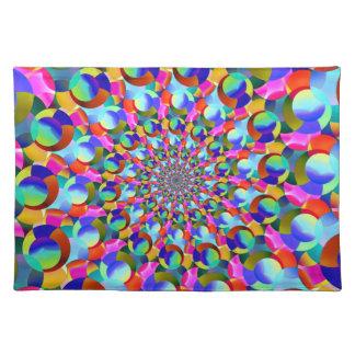 Rainbow Spiral Fractal Art Place Mat