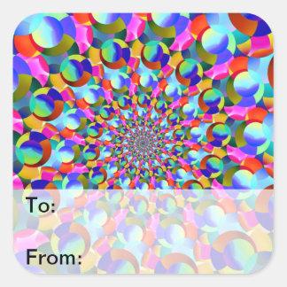 Rainbow Spiral Fractal Art Square Sticker