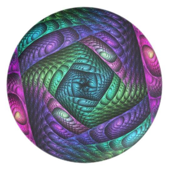 Rainbow Spiral Fractal Texture Plate