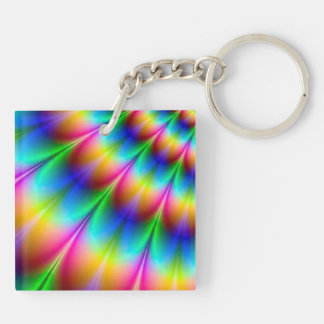 Rainbow Spiral Optical Illusion Double-Sided Square Acrylic Key Ring