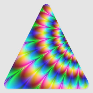Rainbow Spiral Optical Illusion Triangle Stickers