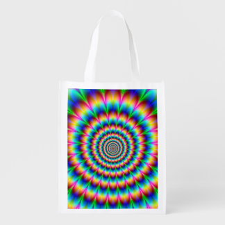 Rainbow Spiral Optical Illusion Grocery Bags
