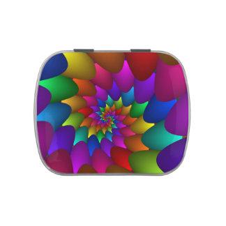 Rainbow Spiral Orbs Candy Tin