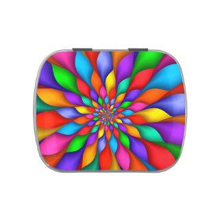 Rainbow Spiral Petals Flower Candy Tin