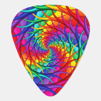 Rainbow Spiral Roots Fractal Guitar Pick